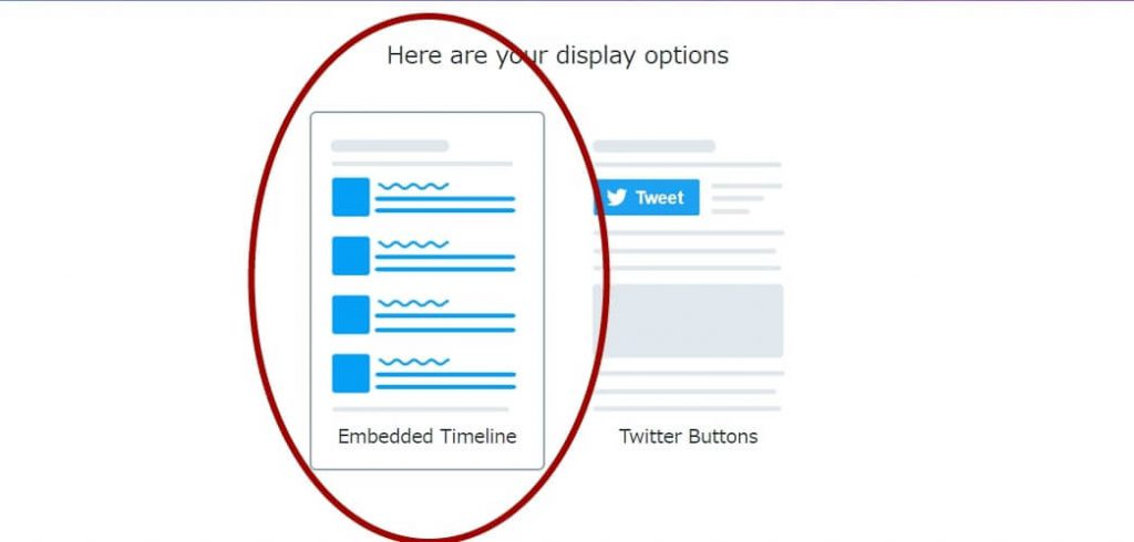 「 Here are your display options 」という選択肢が出てきますが、左側の「Embedded Timeline」を選んでください。